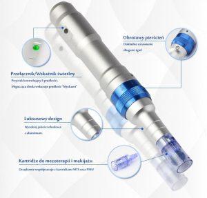 Urządzenie do zabiegu mezoterapii mikroigłowej. Widzimy tutaj przełącznik, wskaźnik i kartidże do mezoterapii i makijażu